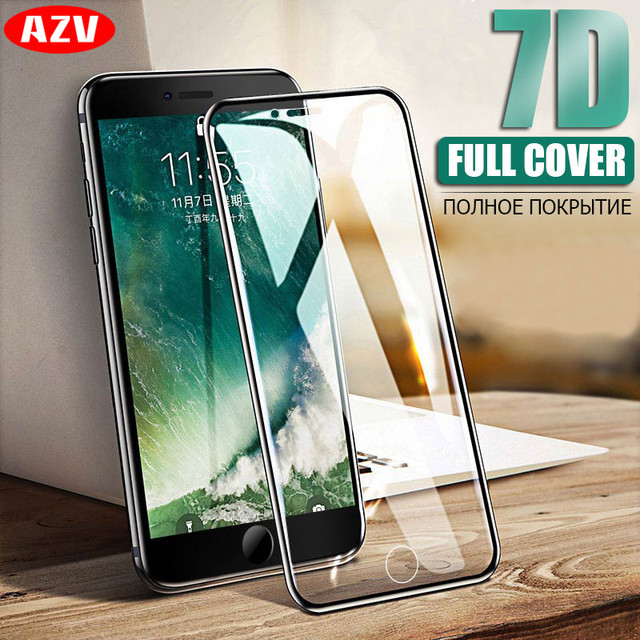 AZV Protective Glass on the For iPhone 6 6S 7 8 Tempered Screen Protector 7D Curved Edge Glass For iPhone 8 7 6 Plus Glass Film