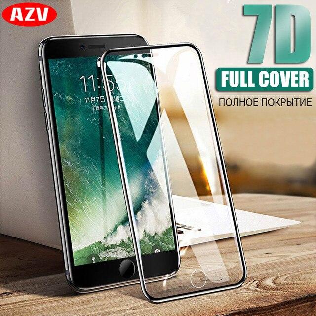 AZV защитное стекло на для iPhone 6 6S 7 8 закаленное стекло для экрана 7D изогнутое стекло для iPhone 8 7 6 Plus стеклянная пленка