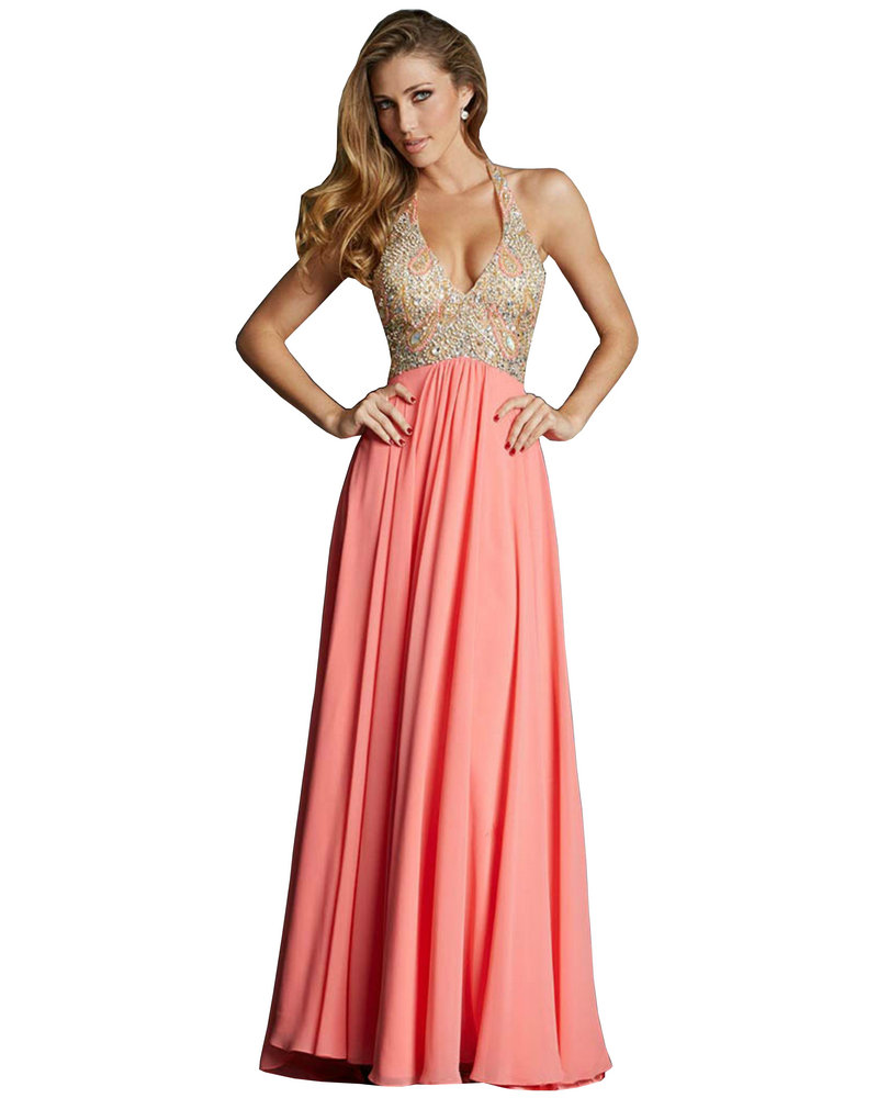 Champagne Coral Prom Dresses Chiffon With Gold Beading Intricately ...