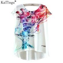 Kaitingu Лето Kawaii Милая модная футболка Harajuku Высокий Низкий Стиль Футболка с принтом футболка с короткими рукавами Женщины Топы Размер M, L XL(China (Mainland))