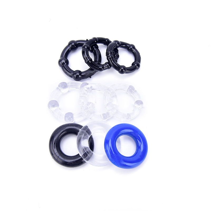3Pcs Flexible Glue Penis Ring Clear Blue Black Silicone Cock Rings Delay Ejaculation Stretch Cockring Control Extender