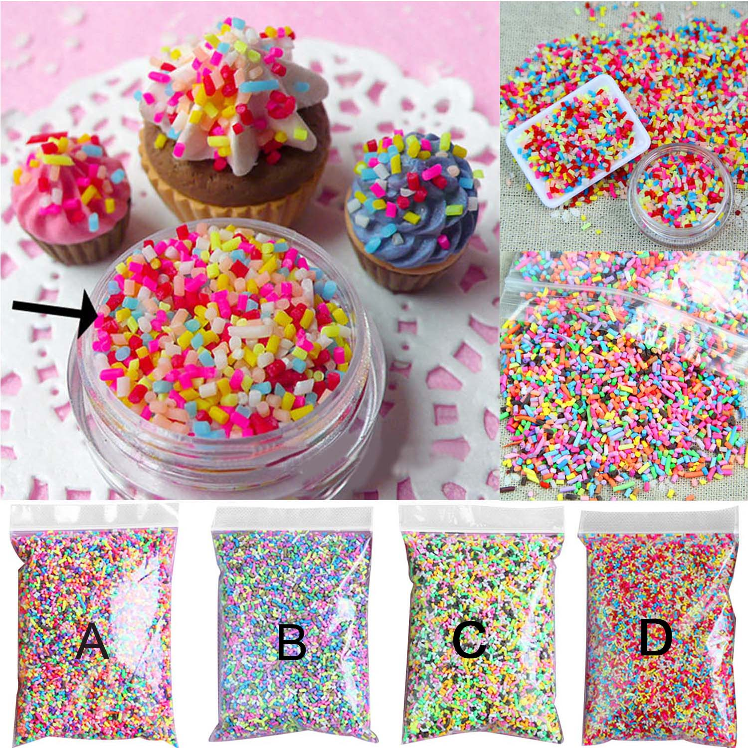100g DIY Polymer Clay Colorful Fake Candy Sweets Sugar Sprinkles Decorations For Fake Cake Dessert Simulation Food Dollhouse