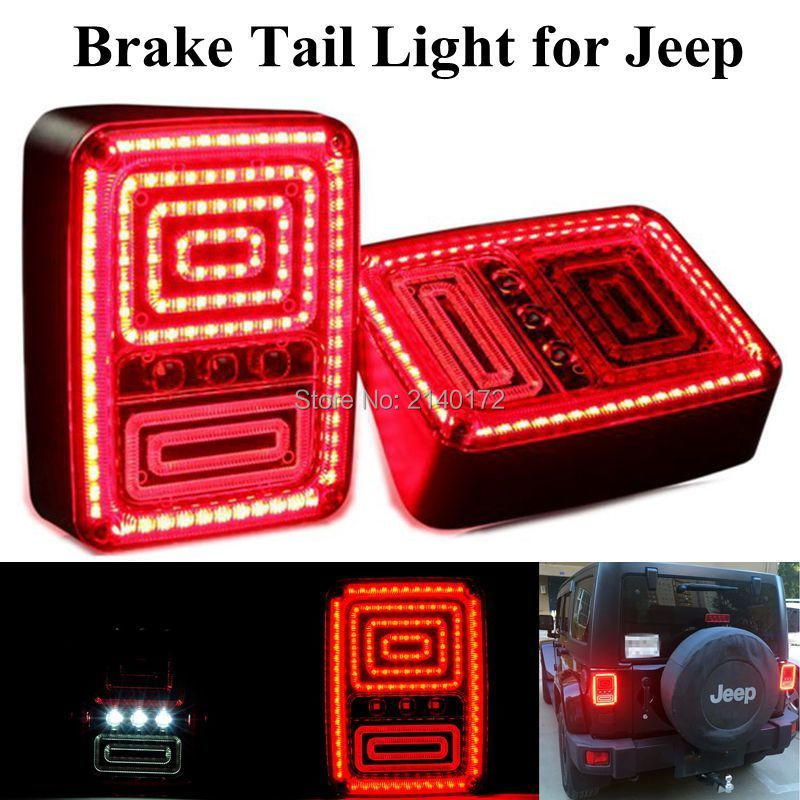 2016 Newest  LED Taillights Red Yellow led Brake Tail Light Rear Signal Reverse Lamps for Jeep Wrangler 07-15 car light high quality new generation led car rear taillights tail lamps for jeep wrangler jk play and plug