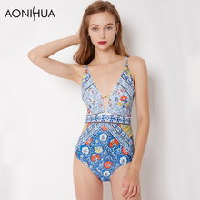 AONIHUA Back Bandaged Swimsuit Women One-piece Swim Wear Blue Print Floral Sleeveless High cut Beach Bathing Suits Swimwear 9046