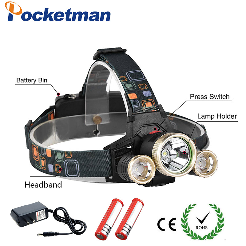 12000LM Cree T6 Led Headlamp Headlight T6+2XPE Lampe Frontale Head Light Flashlight LED Lamp Rechargeable