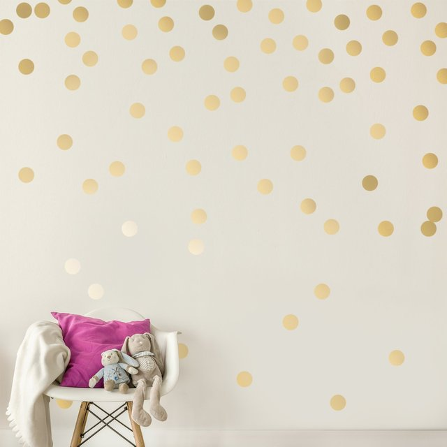 C053 Gold Wall Decal Dots Easy Peel Stick Round Circle Art Glitter Sayings  Sticker Large Paper