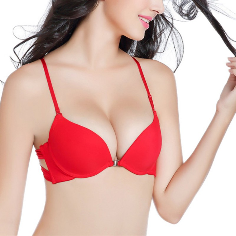 7ab4f6fcf0 Womens Front Closure bra Sexy Red Push Up Seamless Bra Racerback Bra 4 Color  Everyday 3 4 Cup Underwire Solid Color Bras