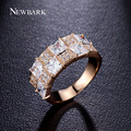 Newbark de moda cz anillo de oro plateado con cubic zirconia diamante simulado anillos de la joyería para las mujeres y los hombres partido accessary