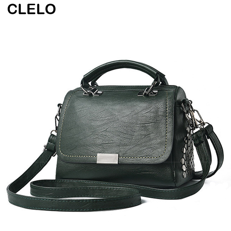 CLELO Vintage Fashion Rivet Bag Women Hot Sale Pu Leather Shoulder Bags Female Small Elegant Ladies Brand Handbags Bolsos Mujer hot sale 2017 vintage cute small handbags pu leather women famous brand mini bags crossbody bags clutch female messenger bags