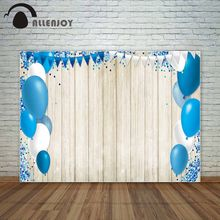 Allenjoy photo background Blue White balloons on wooden board backdrop confetti party backdrop banners photography backdrops(China)