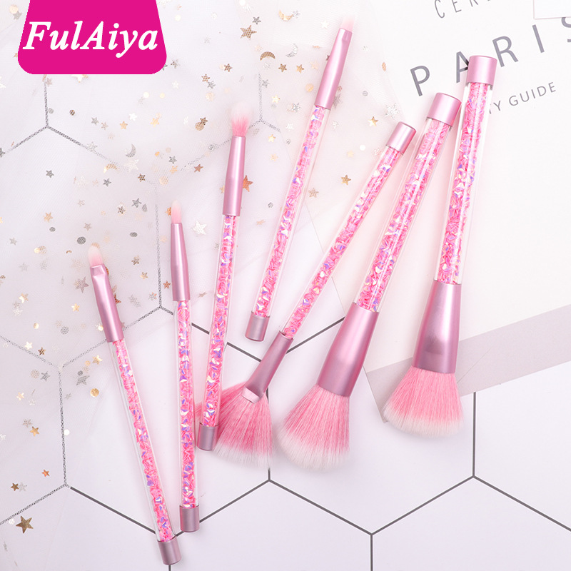New 7 Straight Sand Crystal Handle Makeup Brush Crystal Handle Multi-function Makeup Brush Beauty Makeup Tool(China)