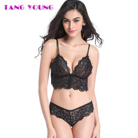 TANG YOUNG Women Bra Sets Push Up Bras And Panties Transparent Thin Briefs Top Lace Embroidery