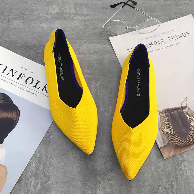 Delle donne di Stirata a maglia di colore misto mocassini traspirante cozy scarpe da lavoro brevi slip-on appartamenti delle signore di modo della luce di guida mocassini