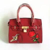Brand Classic Platinum Bag Luxury Women Handbag Leather Padlock Handbag Embroidered Rose Women Shoulder Bags Medium
