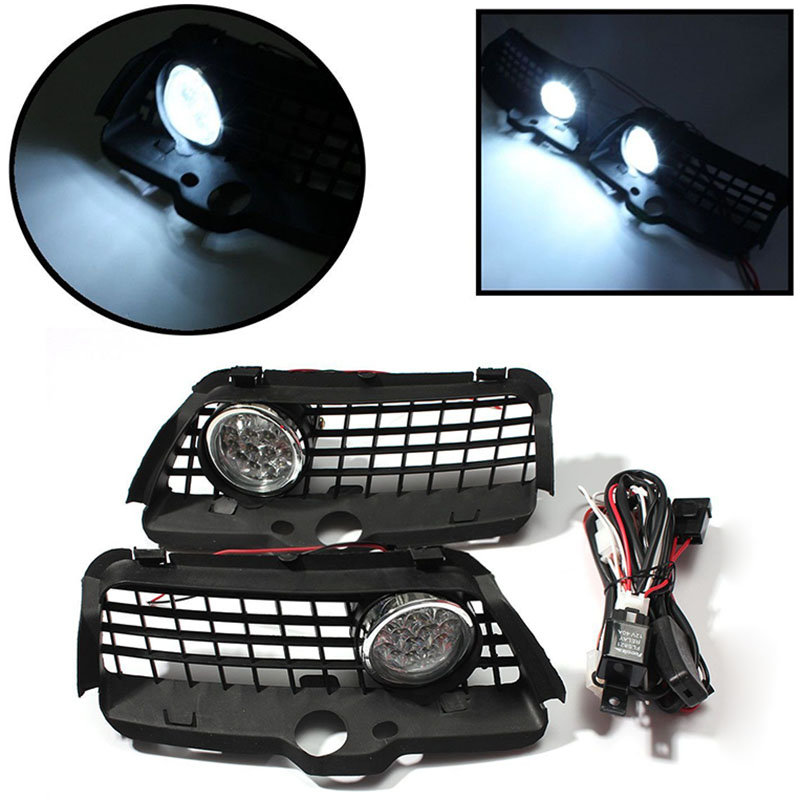 1 Pair 12V LED Fog Light DRL Driving Bumper Grille Super Bright White Lamp 6000K For VW Volkswagen MK3 Golf Jetta 1992 - 1998 auto led car bumper grille drl daytime running light driving fog lamp source bulb for vw volkswagen golf mk4 1997 2006 2pcs