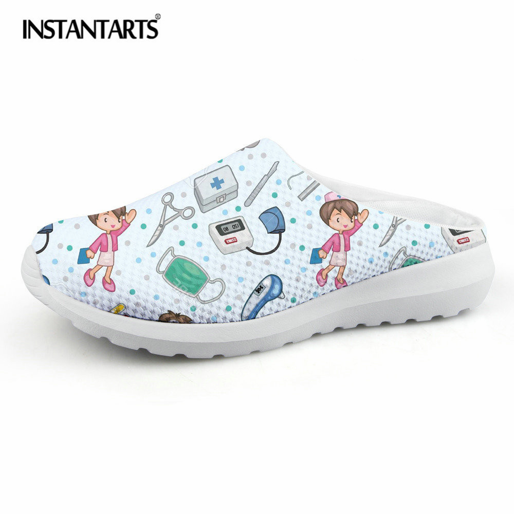 INSTANTARTS Cute Cartoon Nurse Print Air Mesh Sandals Women Summer Casual Breathable Slip On Shoes Beach Slippers Zapatos Mujer forudesigns cartoon shark print women flats shoes sneakers casual women s summer mesh shoes beach girls loafers slip on zapatos
