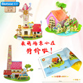 Robotime wooden 3D model toy gift puzzle animal cartoon house Police office Fire Department Hospital Kindergarten Post home 1pc