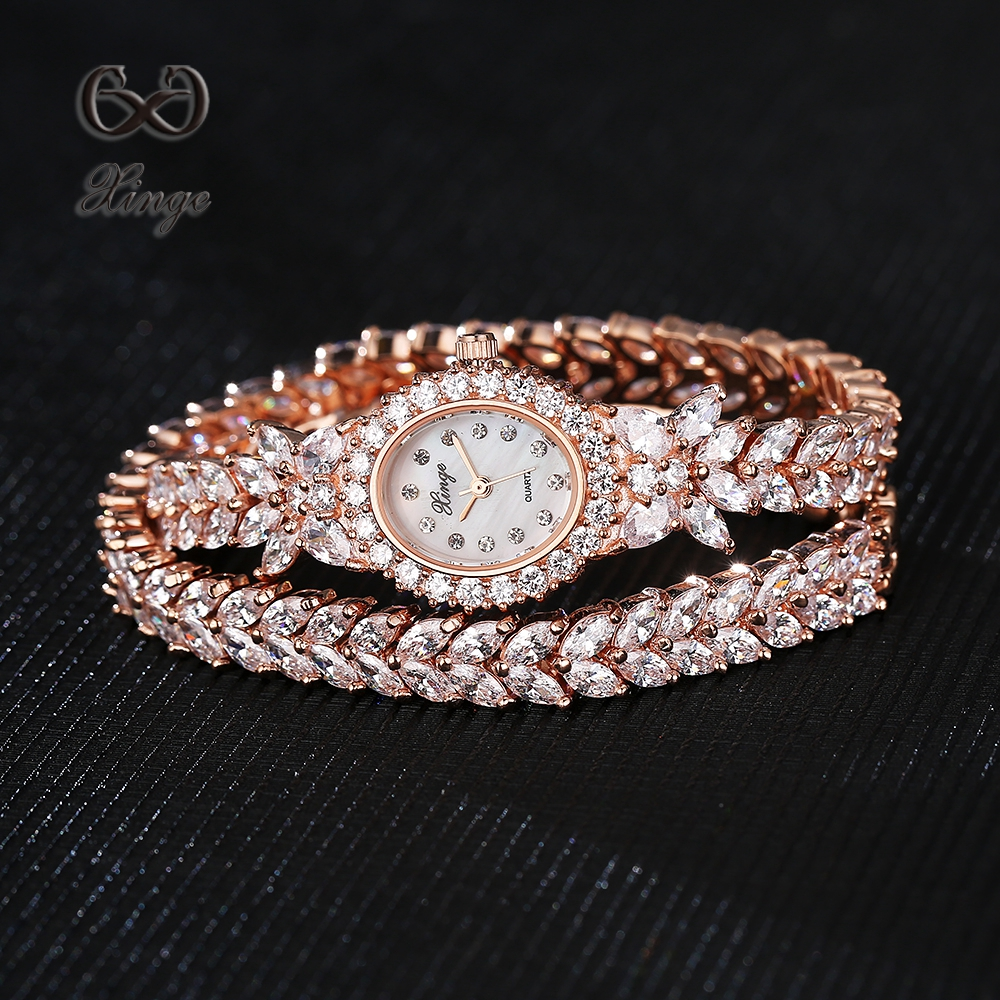 Xinge Brand Luxury Zircon Watches Women Fashion Crystal Bracelet Rose Gold Dress Quartz-Watch Ladies Wrist Business Watch 2017 2016 luxury brand ladies quartz fashion new geneva watches women dress wristwatches rose gold bracelet watch free shipping