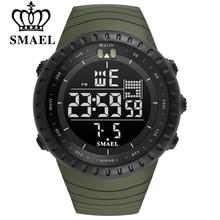 SMAEL-reloj Digital para hombre, cronógrafo electrónico con esfera grande, resistente al agua hasta 50M, LED, para deportes al aire libre, novedad de 2021