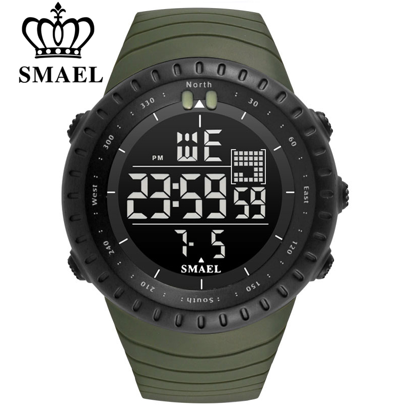 SMAEL Men Outdoor Sports Electronic Chronograph 2020 New Men's Watch Big Dial Digital 50M Waterproof Digital LED Wrist Watches