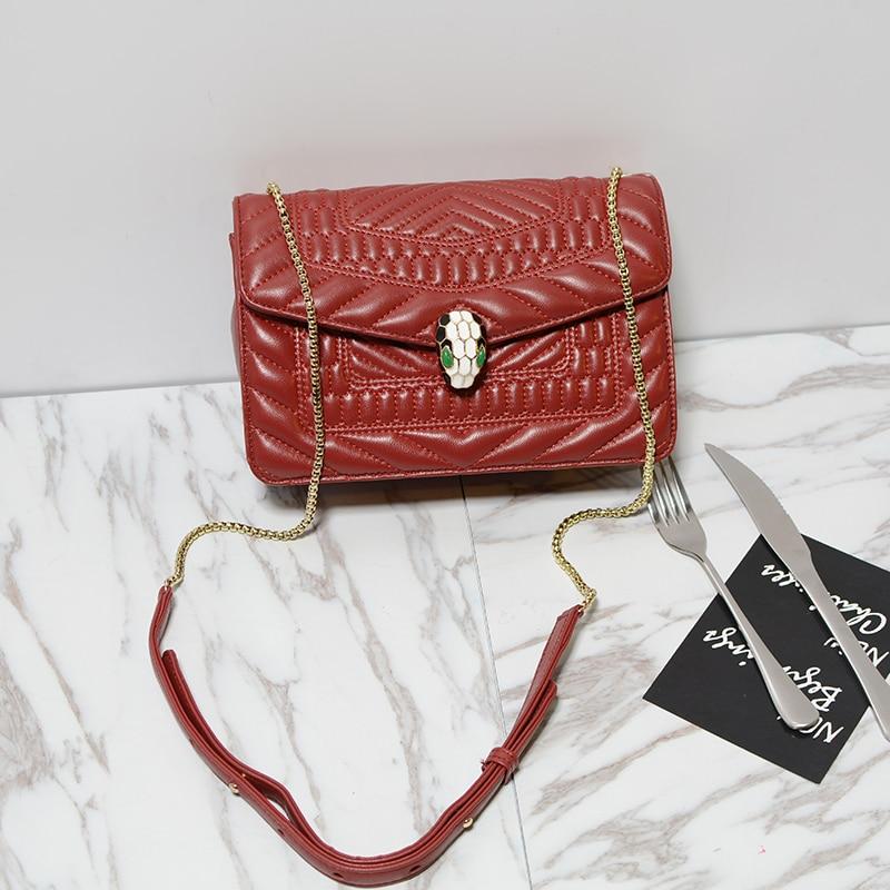 ФОТО novelty brand design small genuine leather snake head flap bag European style sheepskin mini shoulde chain bag luxury messenger