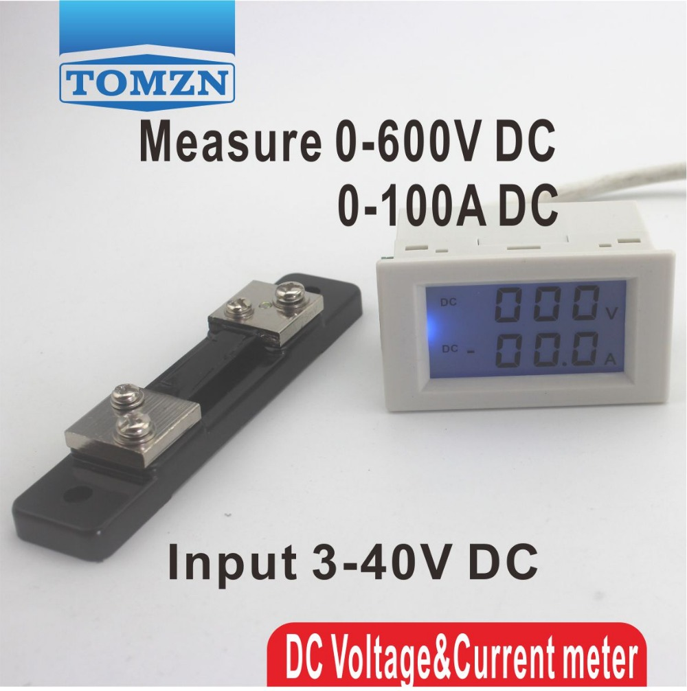 Dual LCD display DC Voltage and current meter voltmeter ammeter range DC 0-600V 0-100A Blue backlight DC 3~40 Input With shunt