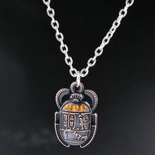 цена на Egyptian Scarab Beetle With Rhinestones Charms Alloy Pendants Necklaces Vintage Antique Silver Jewelry Gift New 1PCS