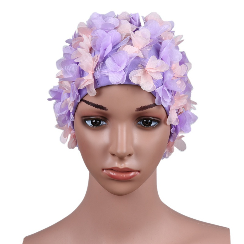 1pcs Women Swim Pool Swimming Cap Three-dimensional flower petals Swimming Hat Bathing Cap