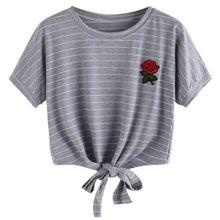 2017 Fashion Summer Kawaii Embroidery Rose Print T Shirts Women Short Sleeve Tops Tees Casual Female T-shirt W1
