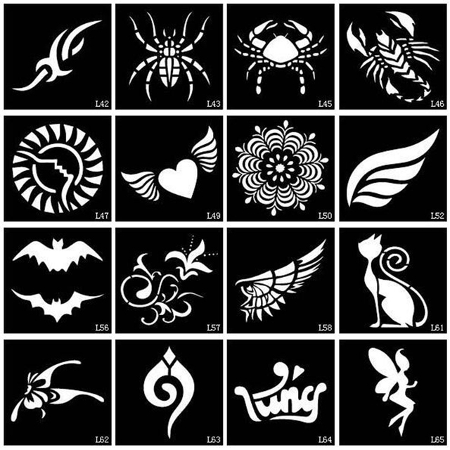 100pcs small glitter tattoo stencil drawing painting airbrush tattoo stencils for woman kids. Black Bedroom Furniture Sets. Home Design Ideas