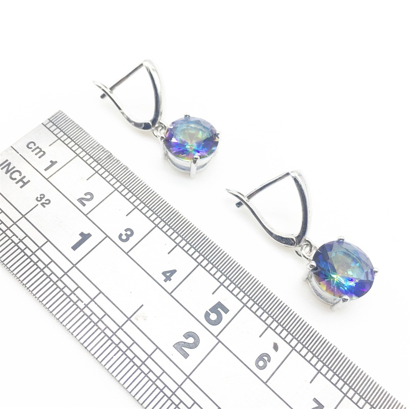 Rainbow Zircon Costume Silver 925 Jewelry Women Earrings With Natural Stones Jewelery Gift