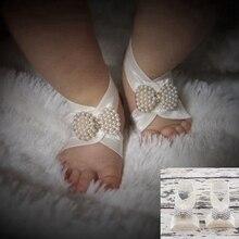 Босиком жемчужина цветка группа сандалии новорожденный лук цветочные ног браслеты ноги