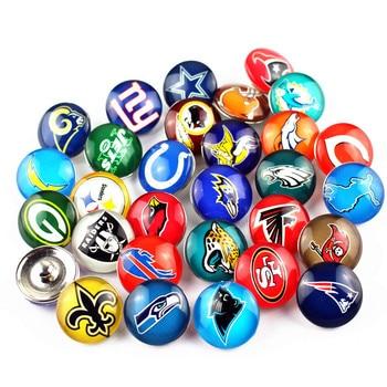 Mix 32pcs/lot Sports Team Snap Buttons Glass Snaps