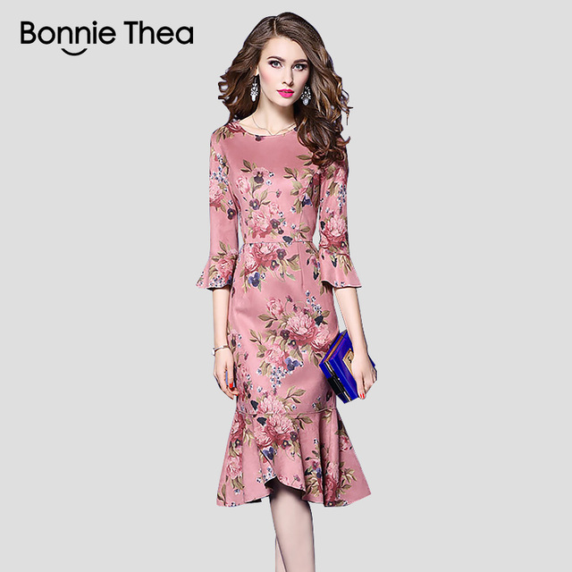 autumn women plus size Mermaid dress female Pink Floral bodycon midi ...