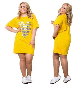 Long Sleeve Fashion Women's Summer Dresses 2017 Yellow Color Casual Women Dress 4xl 5xl 6xl Plus Size High Quality Print Dress