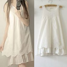 Mori Girl Vintage Floral Embroidery Sleeveless Mini Dresses Women s Summer  White Lace Dress Loose Cotton Tops 40be66283bf8