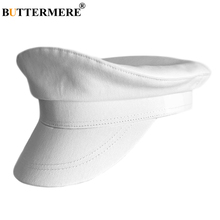 BUTTERMERE Military Hats Men Cotton White Sailor Cap Male Solid Summer Breathable Flat Baker Boy Duckbill Captain Army Beret Hat