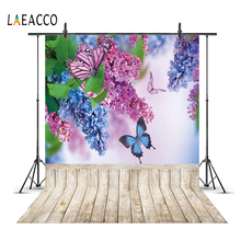Laeacco Spring Blossom Flowers Tassel  Wooden Board Butterfly Child Portrait Backgrounds Photographic Backdrops For Photo Studio