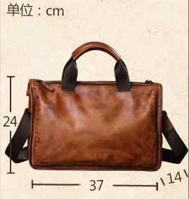 """HANSOMFY ของแท้หนังผู้ชายกระเป๋าหนังนุ่มกระเป๋าถือ casual retro 13 """"แล็ปท็อปกระเป๋าเอกสาร messenger กระเป๋า"""