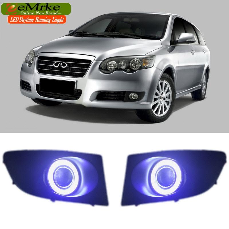 Автомобиль EEMRKE стайлинг для Chery V5 с 2008 по 2012 год cob светодиодный Ангел глаз ДРЛ Н11 55W Галогенные Противотуманные фары лампы дневного света