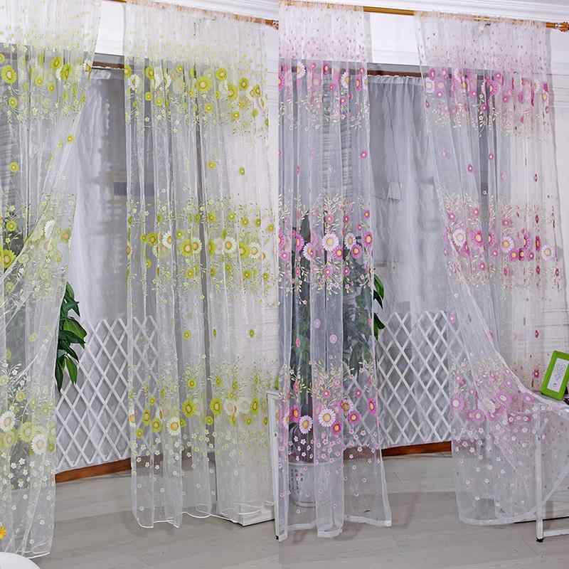 1M x 2M Curtain Sunflower Pattern Tulle Voile Curtains for Living Room Window Sheer Decor AB