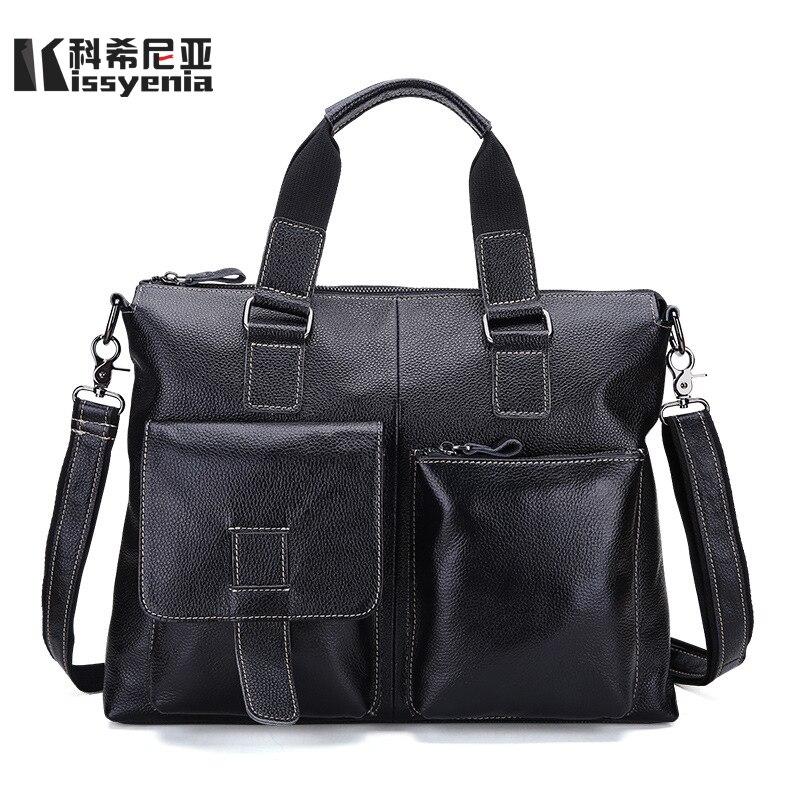 Kissyenia бренд Дизайн Для мужчин из натуральной кожи путешествия Бизнес Портфели мужской большой Ёмкость ноутбук чемодан из коровьей кожи Сум