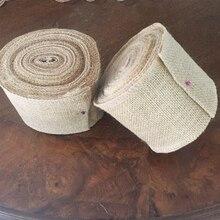 6 tamaños de Yute Natural de 5 metros de arpillera cinta rollo arpillera Mesa corredores boda fiesta silla bandas Vintage hogar Mesa decoración
