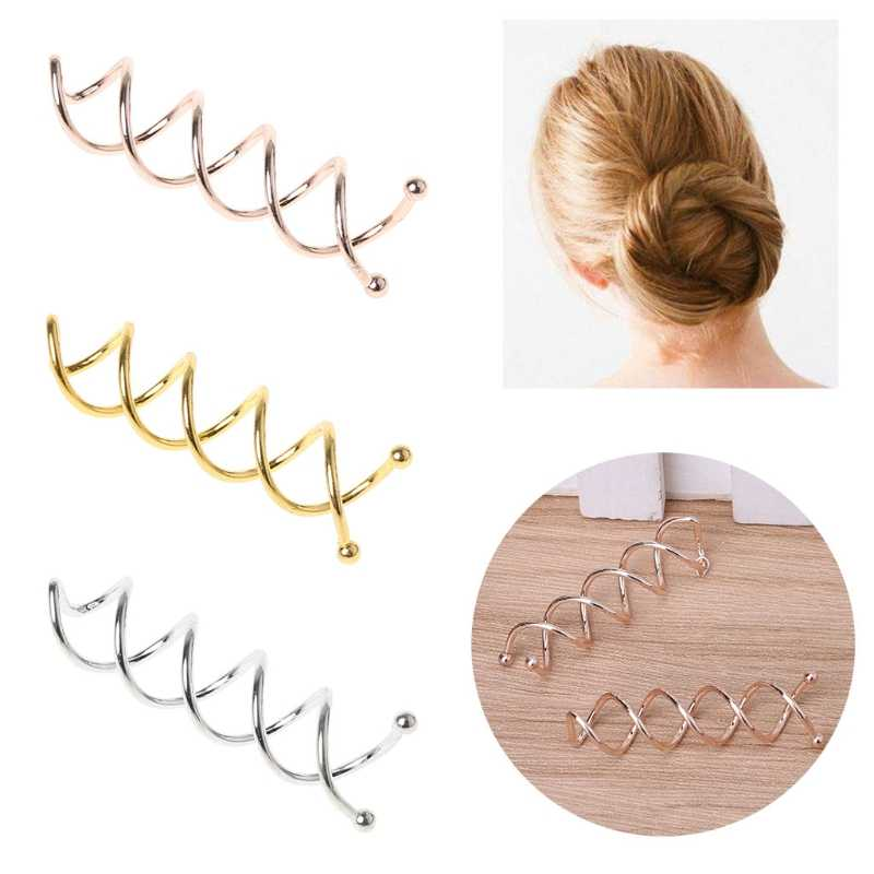 10 pçs grampo de cabelo feminino grampo de cabelo grampo de cabelo estilo espiral spin parafuso torção barrette ouro prata ferramenta de estilo de cabelo