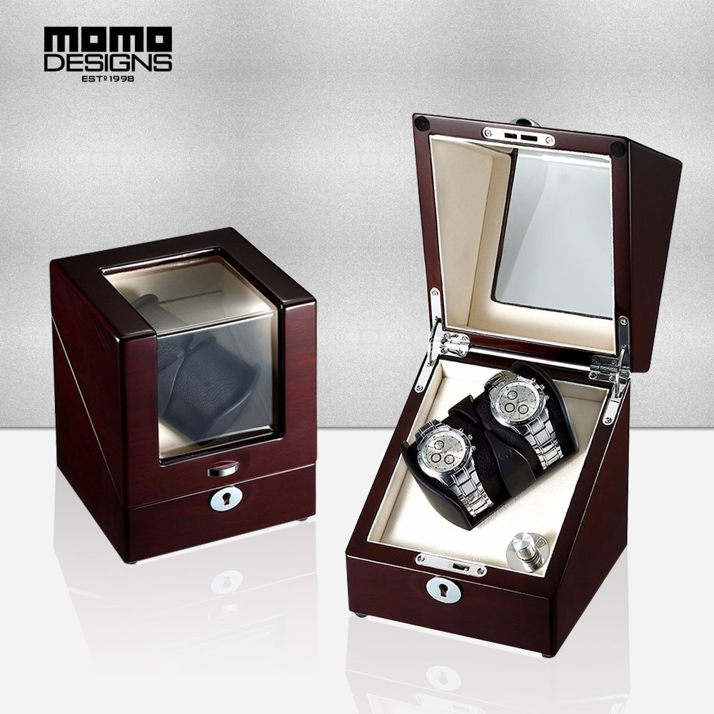 Watch Winders Intellective 2 Slots Automatic Watch Winder Single Rotor Luxury Wooden Box With Led Light Motor Watch Machine Harmonious Colors Watches