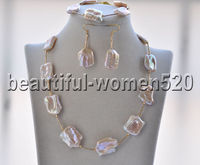 Z9007 23mm Square coin Pink Keshi Pearl Necklace & Bracelet & Earrings sets