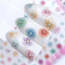 WUF 1 Sheet Nail Water Decal Stickers Character / Feather Flower Fruit Series  3D Ultra-thin Sticker