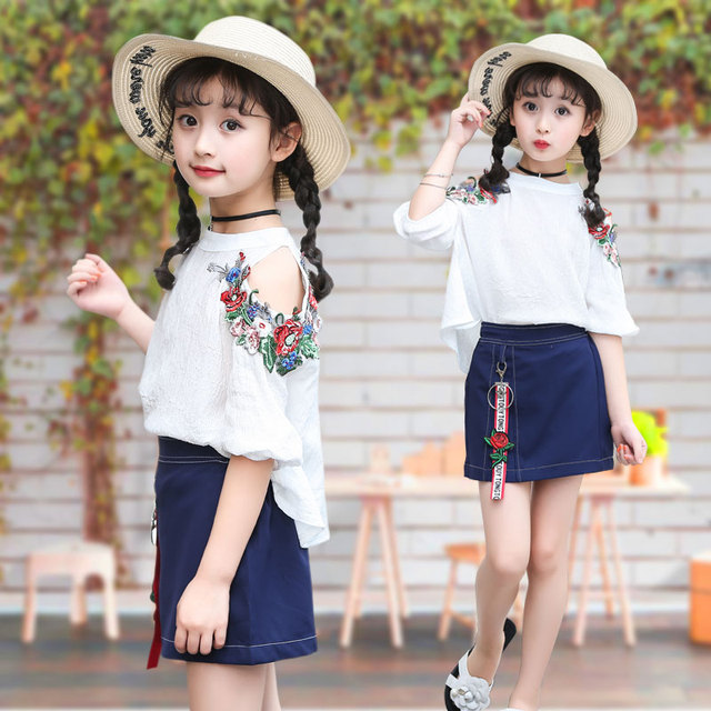 eed4ceace6f Girls  suit 2018 new fashion summer wear girl chiffon dress skirt ...