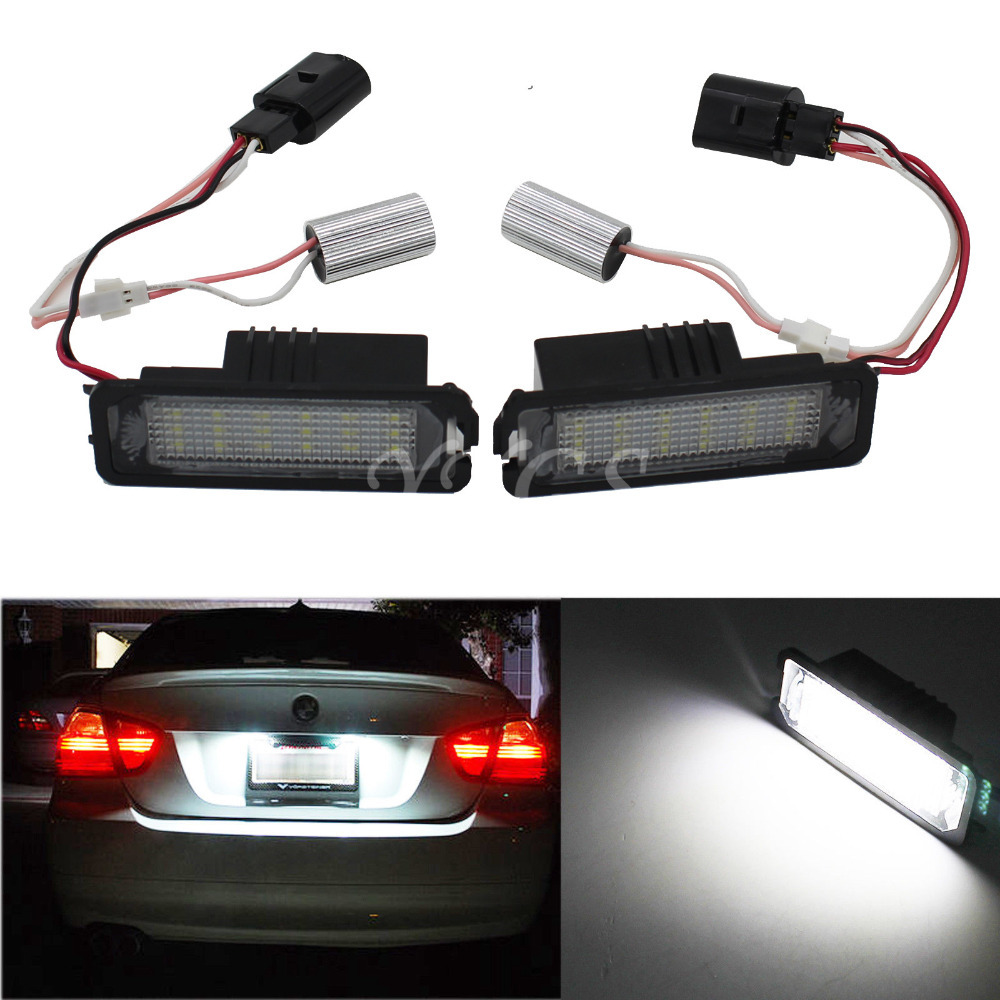 Auto Car 18 SMD LED Number License Plate Light Lamp For VW Golf MK4 MK5 MK6 Passat CC Polo Scirocco EOS Lupo White 12V  qook 2piece car error free led license number plate light lamp for porsche vw golf polo passat seat number plate lamp