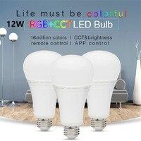 Milight AC 85 V-265 V E27 6 W 8 W 9 W 12 W RGB + SKK LED ampul 2.4G Kablosuz RF WIFI Uzaktan App Kontrol Dim sıcak beyaz Led lamba